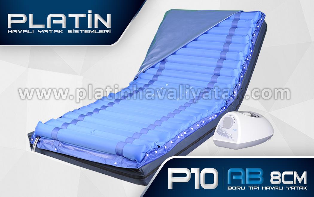 P10 Boru Tipi Havalı Yatak; Yatağa tam bağımlı olmayan hareket kabiliyeti olan hastalar için tavsiye edilen havalı yatak çeşididir. Havalı yataklar arasında yara oluşumu önleme standartlarına uyan en ekonomik fiyatlı havalı yataktır. 8cm Boru Tipi Havalı Yatak fiyatları kalite anlamında da alınabilecek en uygun modeldir.